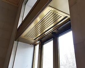 Vestibule exception air curtain above ceiling